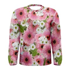 Pink Flower Bg 2 Men s Long Sleeve Tee