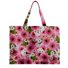 Pink Flower Bg 2 Zipper Mini Tote Bag