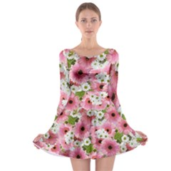 Pink Flower Bg 2 Long Sleeve Skater Dress