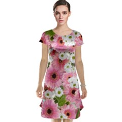 Pink Flower Bg 2 Cap Sleeve Nightdress
