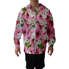 Pink Flower Bg 2 Hooded Wind Breaker (kids)