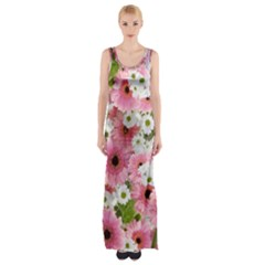 Pink Flower Bg 2 Maxi Thigh Split Dress