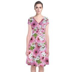 Pink Flower Bg 2 Short Sleeve Front Wrap Dress