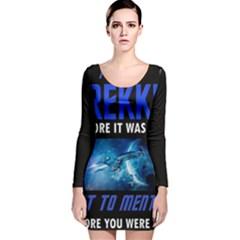 Black Star Trek Tee Long Sleeve Velvet Bodycon Dress