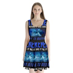 Black Star Trek Tee Split Back Mini Dress