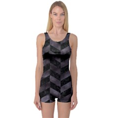 Chevron1 Black Marble & Black Watercolor One Piece Boyleg Swimsuit