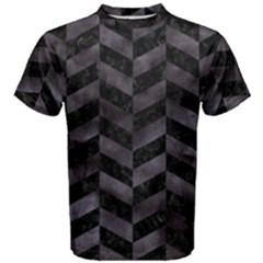 Chevron1 Black Marble & Black Watercolor Men s Cotton Tee
