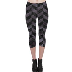 Chevron1 Black Marble & Black Watercolor Capri Leggings
