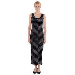 Chevron1 Black Marble & Black Watercolor Fitted Maxi Dress