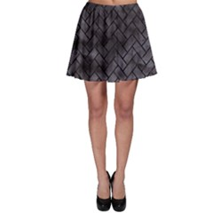 Brick2 Black Marble & Black Watercolor (r) Skater Skirt