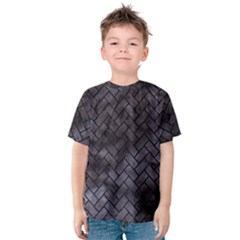 Brick2 Black Marble & Black Watercolor (r) Kids  Cotton Tee