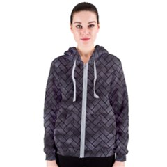 Brick2 Black Marble & Black Watercolor (r) Women s Zipper Hoodie