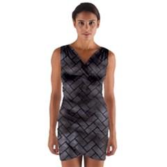 Brick2 Black Marble & Black Watercolor (r) Wrap Front Bodycon Dress