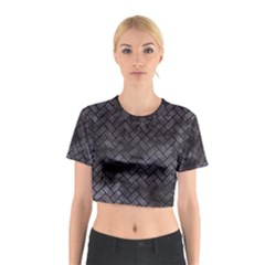 Brick2 Black Marble & Black Watercolor (r) Cotton Crop Top