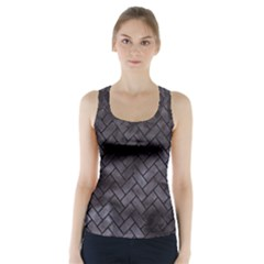 Brick2 Black Marble & Black Watercolor (r) Racer Back Sports Top