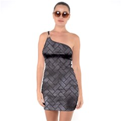 Brick2 Black Marble & Black Watercolor (r) One Soulder Bodycon Dress