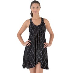 Brick2 Black Marble & Black Watercolor Show Some Back Chiffon Dress
