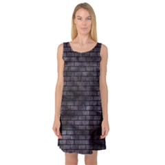 Brick1 Black Marble & Black Watercolor (r) Sleeveless Satin Nightdress