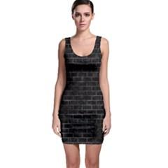 Brick1 Black Marble & Black Watercolor Bodycon Dress
