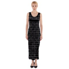 Brick1 Black Marble & Black Watercolor Fitted Maxi Dress