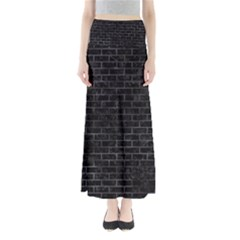 Brick1 Black Marble & Black Watercolor Full Length Maxi Skirt