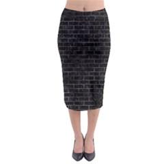 Brick1 Black Marble & Black Watercolor Midi Pencil Skirt