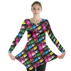 Pattern Colorfulcassettes Icreate Long Sleeve Tunic