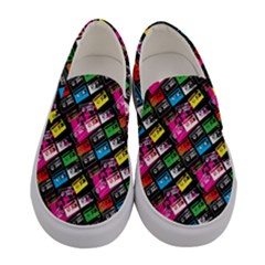 Pattern Colorfulcassettes Icreate Women s Canvas Slip Ons