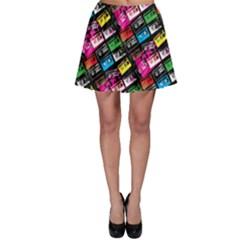 Pattern Colorfulcassettes Icreate Skater Skirt