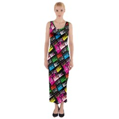 Pattern Colorfulcassettes Icreate Fitted Maxi Dress