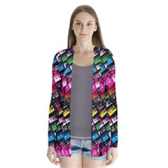Pattern Colorfulcassettes Icreate Drape Collar Cardigan