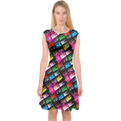 Pattern Colorfulcassettes Icreate Capsleeve Midi Dress