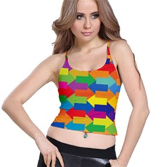 Arrow Rainbow Orange Blue Yellow Red Purple Green Spaghetti Strap Bra Top