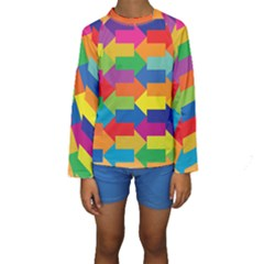 Arrow Rainbow Orange Blue Yellow Red Purple Green Kids  Long Sleeve Swimwear