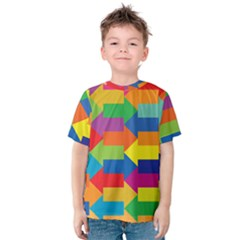 Arrow Rainbow Orange Blue Yellow Red Purple Green Kids  Cotton Tee