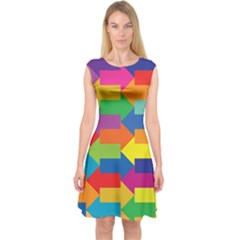Arrow Rainbow Orange Blue Yellow Red Purple Green Capsleeve Midi Dress
