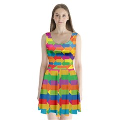 Arrow Rainbow Orange Blue Yellow Red Purple Green Split Back Mini Dress