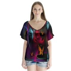 Beautiful Butterflies Rainbow Space V Neck Flutter Sleeve Top