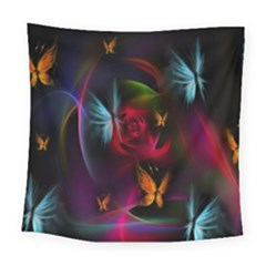 Beautiful Butterflies Rainbow Space Square Tapestry (large)
