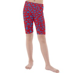 Blue Red Space Galaxy Kids  Mid Length Swim Shorts
