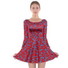 Blue Red Space Galaxy Long Sleeve Skater Dress