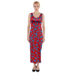 Blue Red Space Galaxy Fitted Maxi Dress