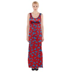 Blue Red Space Galaxy Maxi Thigh Split Dress