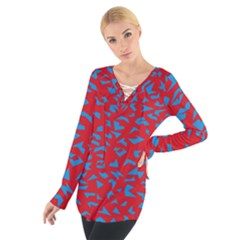 Blue Red Space Galaxy Tie Up Tee