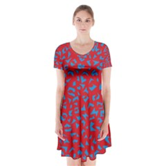Blue Red Space Galaxy Short Sleeve V Neck Flare Dress