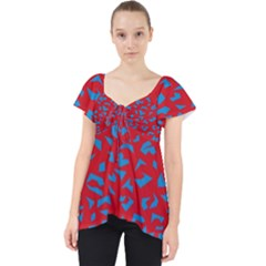 Blue Red Space Galaxy Lace Front Dolly Top