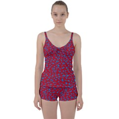 Blue Red Space Galaxy Tie Front Two Piece Tankini
