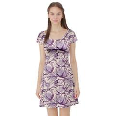 Vegetable Cabbage Purple Flower Short Sleeve Skater Dress