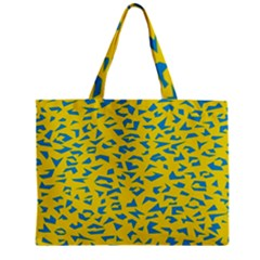 Blue Yellow Space Galaxy Zipper Mini Tote Bag