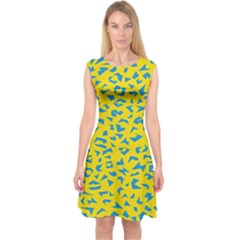 Blue Yellow Space Galaxy Capsleeve Midi Dress